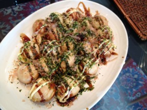 Takoyaki - octopus fritters. I made that!!