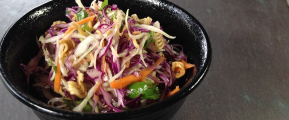 Asian style cole slaw with toasted ramen noodles